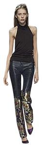 Cynthia Rowley Blue Leather Brocade Boot Cut Pants blue, gold