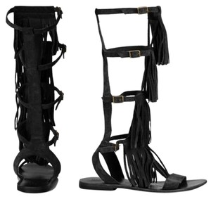 Topshop Boho Gladiator Fringe Black Sandals