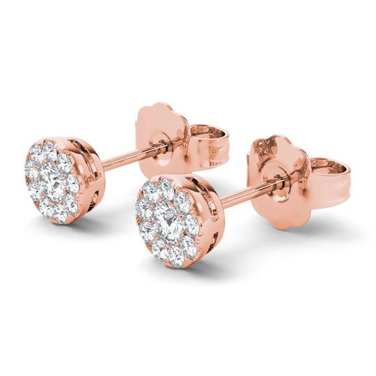 Elizabeth Jewelry 10Kt Rose Gold 0.33 Ct Halo Diamond Stud Earrings