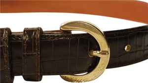 Casual Corner Casual Corner Women's Brown Leather Crocodile Alligator Style Belt