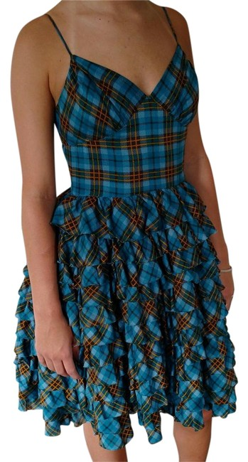 Preload https://img-static.tradesy.com/item/17808304/betsey-johnson-blue-ruffle-plaid-above-knee-formal-dress-size-4-s-0-1-650-650.jpg