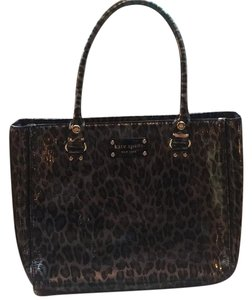 Kate Spade Animal Print Patent Leather Satchel in Black