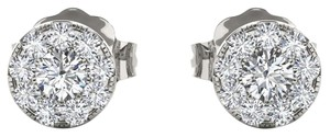 Elizabeth Jewelry 10Kt White Gold 0.33 Ct Halo Diamond Stud Earrings