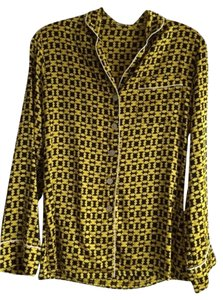 Olivia von Halle Silk Longsleeve Bright Tie Elastic Button Down Shirt Yellow/Black