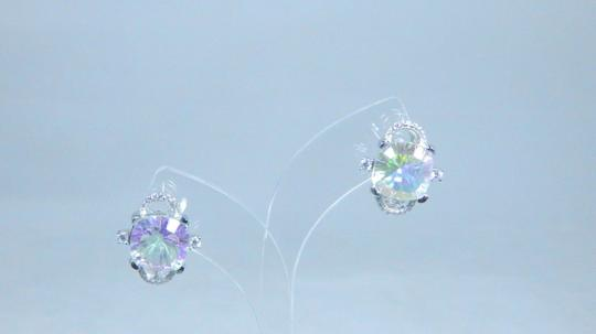 Mystic Sterling Silver. Gorgeous Trillion Shape Mystic quartz Earrings In a Halo Setting