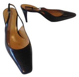 Bally Slingback Leather Heel Black Pumps