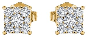 Elizabeth Jewelry 10Kt Yellow Gold 0.50 Ct Princess Shape Diamond Stud Earrings
