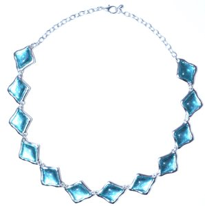 Other The Lassie Diamond Geometric Resin Pewter Chain Link Necklace