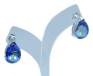 Mystic Sterling Silver.Dazzling Pear shape Mystic Blue quartz Earrings In a Three-Prong setting