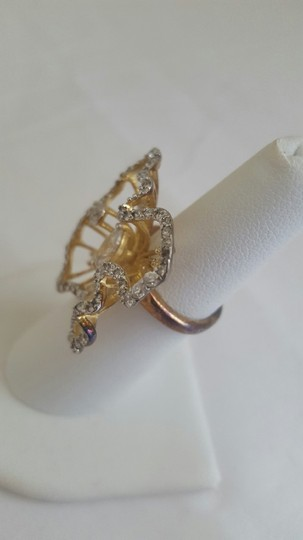 Other Flower Big Gold Ring with Crystals