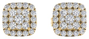 Elizabeth Jewelry 10Kt Yellow Gold 0.50 Ct Diamond Halo Stud Earrings