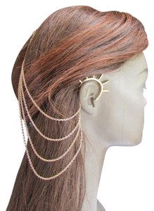 New Women Gold Chains Spikes Ear Cuff Earring Hair Pin Headband Claw
