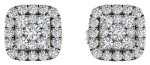 Elizabeth Jewelry 10Kt White Gold 0.50 Ct Diamond Halo Stud Earrings