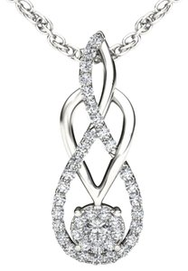 Elizabeth Jewelry 10Kt White Gold Infinity Swirl Loop Diamond Pendant