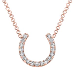 Elizabeth Jewelry 14Kt Rose Gold Diamond Horseshoe Pendant