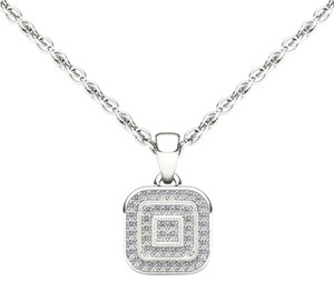 Elizabeth Jewelry 10Kt White Gold Diamond Halo Pendant