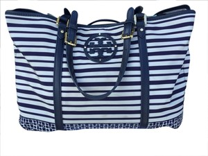 Tory Burch Overnight Beach Tote Blue And White Travel Bag