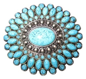 Brand new never worn tags still on faux Turquoise and silver gunmetal belt buckle