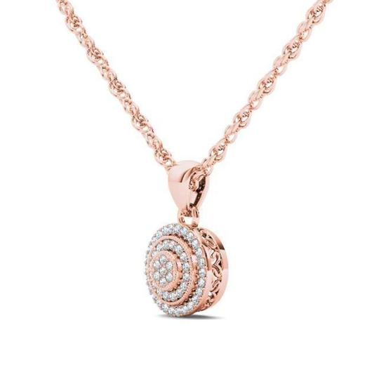 Elizabeth Jewelry 10Kt Rose Gold Diamond Halo Pendant