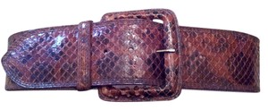 Carlos Falchi Cognac Genuine Python Belt With Rectangle Buckle