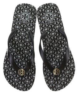 Tory Burch Rubber Flip Flops Lattice Black White Sandals
