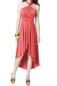 Dessy Firecracker (Coral) Polyester/Spandex Twist Wrap Destination Bridesmaid/Mob Dress Size 12 (L)