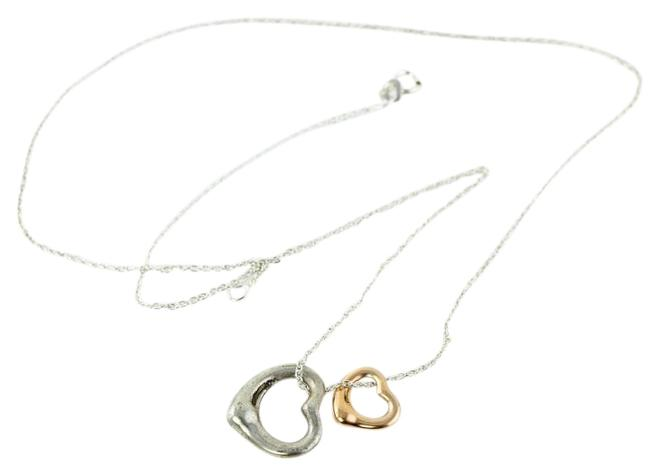 Tiffany Co Sterling Silver 18k Rose Gold Elsa Peretti Two Hearts Necklace Tradesy
