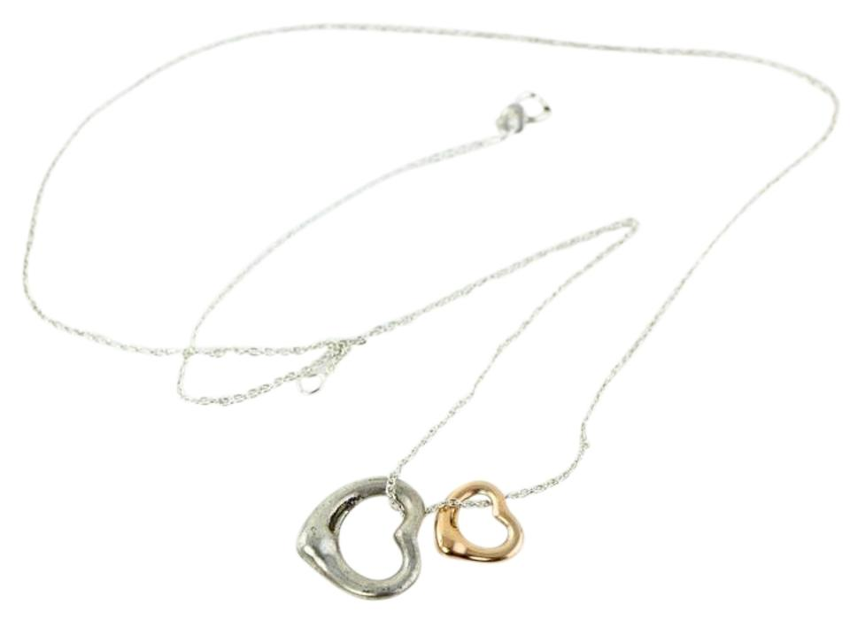 Tiffany co sterling silver18k rose gold elsa peretti two tiffany co elsa peretti two hearts necklace aloadofball Image collections
