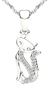 Elizabeth Jewelry 10Kt White Gold Diamond Cat Pendant