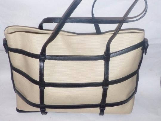 Salvatore Ferragamo Mint Vintage Xl Satchel/Tote 1960's Mod Style Minimalist Style Changeable Linings Satchel in Black Leather with Ivory Canvas insert