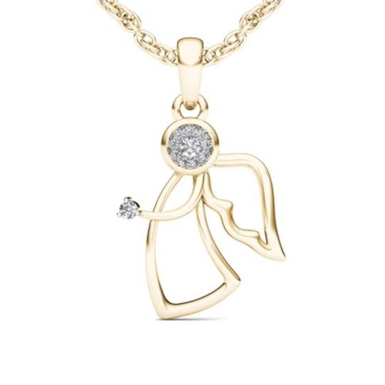 Elizabeth Jewelry 10Kt Yellow Gold Diamond Angel Pendant