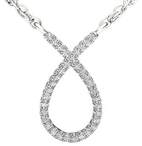 Elizabeth Jewelry 10Kt White Gold Diamond Ribbon Pendant