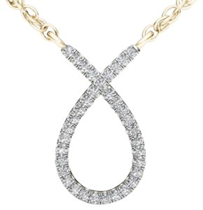 Elizabeth Jewelry 10Kt Yellow Gold Diamond Ribbon Pendant