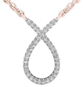 Elizabeth Jewelry 10Kt Rose Gold Diamond Ribbon Pendant