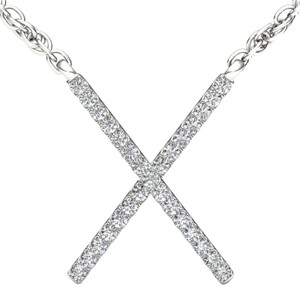 Elizabeth Jewelry 10Kt White Gold Diamond X Pendant