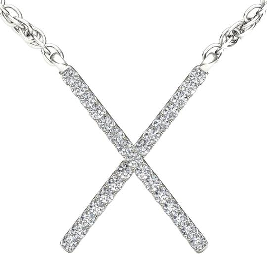 Preload https://img-static.tradesy.com/item/17810896/10kt-white-gold-diamond-x-pendant-necklace-0-1-540-540.jpg