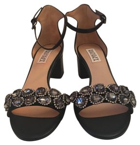 Badgley Mischka Black with gem/bling accents and ankle straps. Formal
