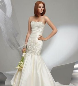 St. Pucchi Ivory Taffeta Lace Mermaid Draped 4/6 An111 Coco Anais Sexy Wedding Dress Size 4 (S)