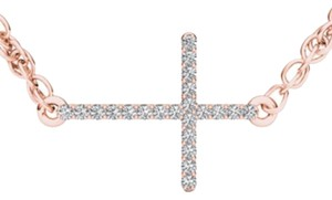 Elizabeth Jewelry 10Kt Rose Gold Diamond Cross Pendant