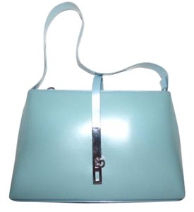 Salvatore Ferragamo Mint Vintage Dressy Or Casual Hard And Boxy Chrome Gancini Clasp Multiple Pockets Hobo Bag