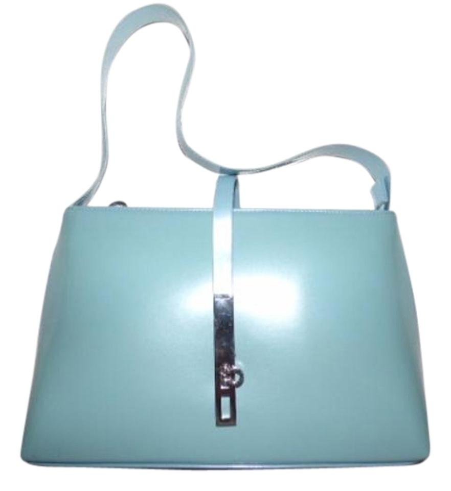 6dfae32786 Salvatore Ferragamo Mint Vintage Dressy Or Casual Hard And Boxy Chrome  Gancini Clasp Multiple Pockets Hobo ...
