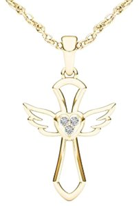 Elizabeth Jewelry 10Kt Yellow Gold Diamond Cross Angel Wings Pendant