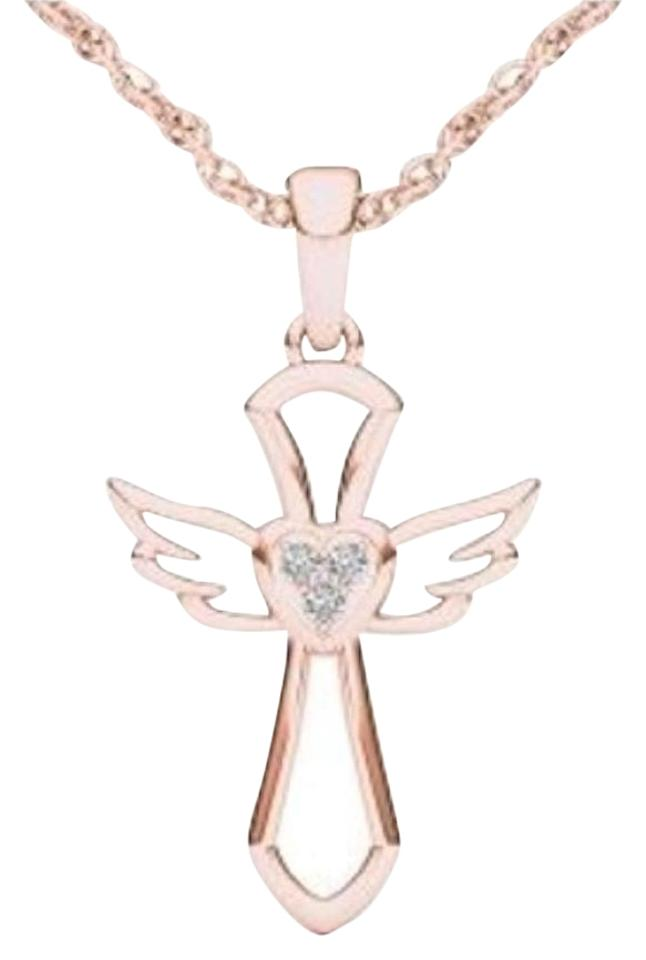 10kt Rose Gold Diamond Cross Angel Wings Pendant Necklace Tradesy