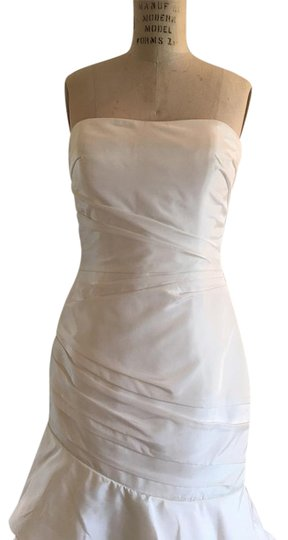 Allure Bridals Light Ivory White Taffeta Mermaid Layers P836 Draped Sexy Strapless Lace Up Back Feminine Wedding Dress Size 8 (M)