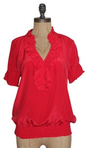Joie Ruffle Silk Avery Top CORAL