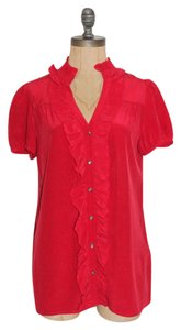 Joie Ruffle Silk Top RED