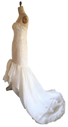 Justin Alexander Creme Light Ivory Lace Organza Tulle 9683 Sexy High Low Mermaid Strapless Cascading Feminine Wedding Dress Size 6 (S)