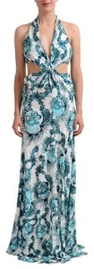White and Turquoise Maxi Dress by Just Cavalli Roberto Cavalli