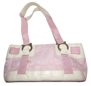 Salvatore Ferragamo Mint Vintage Bold Accents Bronze Hardware Xl Rare Pink Print Satchel in white leather/pink and white Gancini patchwork fabric