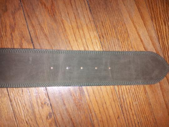 Carlos Falchi Olive Suede Belt With Rectangle Buckle Image 2